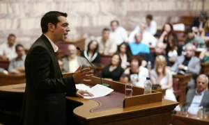 Alexis Tsipras leader of Syriza addresses the party's MPs